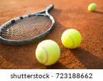 close up view of tennis racket... | Shutterstock . vector #723188662