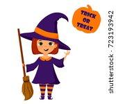 halloween cute little witch ... | Shutterstock .eps vector #723193942