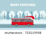 vector christmas bus on the... | Shutterstock .eps vector #723215938