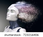 cyborg with head shattered into ... | Shutterstock . vector #723216406
