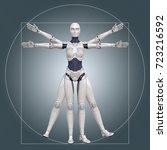 Vitruvian Man  Cyborg. 3d...