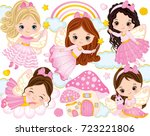 vector set with cute little... | Shutterstock .eps vector #723221806