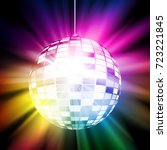 colorful retro disco ball.... | Shutterstock .eps vector #723221845