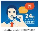 call center operator with... | Shutterstock .eps vector #723225382