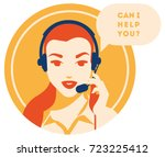 call center operator with... | Shutterstock .eps vector #723225412