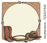 cowboy horse equine riding tack ... | Shutterstock .eps vector #723227542