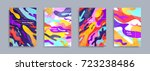 Colorful covers design set. Abstract shapes, holographic, fluid and liquid colors, trendy gradients. Futuristic vector posters. | Shutterstock vector #723238486