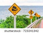 slope warning sign of traffic... | Shutterstock . vector #723241342