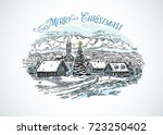 festive winter countryside... | Shutterstock .eps vector #723250402
