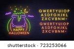 happy halloween neon sign ... | Shutterstock .eps vector #723253066