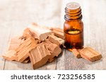 sandalwood essential oil on the ... | Shutterstock . vector #723256585