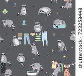 cute raccoon animal doodle hand ... | Shutterstock . vector #723258448