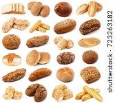 fresh bread collage on white...   Shutterstock . vector #723263182