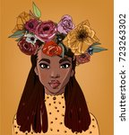 young beautiful african woman... | Shutterstock .eps vector #723263302