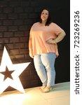 stunning fat girl with velvety... | Shutterstock . vector #723269236