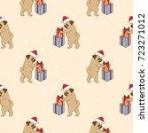 christmas pattern with cute... | Shutterstock .eps vector #723271012
