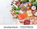 Stock photo assortment of healthy protein source and body building food meat beef salmon chicken breast eggs 723278326