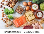 Stock photo assortment of healthy protein source and body building food meat beef salmon chicken breast eggs 723278488