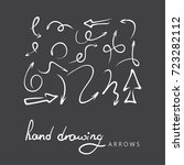 hand drawn arrows on black... | Shutterstock .eps vector #723282112