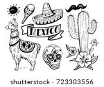 set of mexican objects  sun ... | Shutterstock .eps vector #723303556