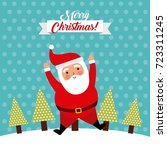 merry christmas jump santa... | Shutterstock .eps vector #723311245