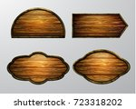 wooden signs  vector icon set | Shutterstock .eps vector #723318202