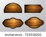 wooden signs  vector icon set | Shutterstock .eps vector #723318202