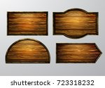 wooden signs  vector icon set | Shutterstock .eps vector #723318232