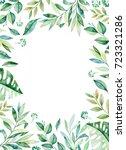 watercolor frame border.texture ... | Shutterstock . vector #723321286