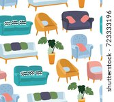 house furniture pattern... | Shutterstock .eps vector #723333196