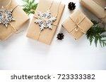 christmas handmade gift boxes...   Shutterstock . vector #723333382