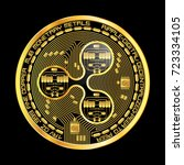 crypto currency golden coin...   Shutterstock .eps vector #723334105