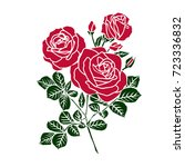Stock vector silhouettes of rose isolated on white background vector illustration 723336832