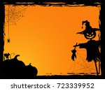 halloween background with evil... | Shutterstock .eps vector #723339952