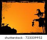 halloween background with evil... | Shutterstock .eps vector #723339952