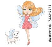 cute girl with cat vector...   Shutterstock .eps vector #723343375