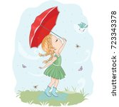 cute girl vector design. little ... | Shutterstock .eps vector #723343378