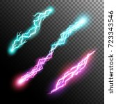 powerful energy discharge.... | Shutterstock .eps vector #723343546