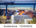 industrial container cargo...   Shutterstock . vector #723344242