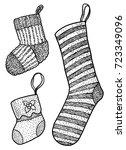 christmas socks illustration ... | Shutterstock .eps vector #723349096