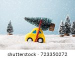 christmas tree on yellow toy... | Shutterstock . vector #723350272