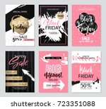 set of sale banners with grunge ... | Shutterstock .eps vector #723351088