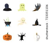 flat icon halloween set of... | Shutterstock .eps vector #723351106