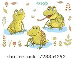three cute frogs and flowers on ... | Shutterstock .eps vector #723354292