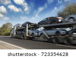 the trailer transports cars on... | Shutterstock . vector #723354628