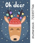 oh deer christmas greeting card ... | Shutterstock .eps vector #723357766
