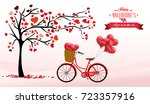 valentine's day background with ... | Shutterstock . vector #723357916