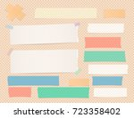 ripped white and colorful note  ... | Shutterstock .eps vector #723358402