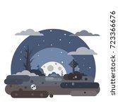 vector halloween cemetery...   Shutterstock .eps vector #723366676
