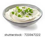 bowl of sour cream sauce with... | Shutterstock . vector #723367222